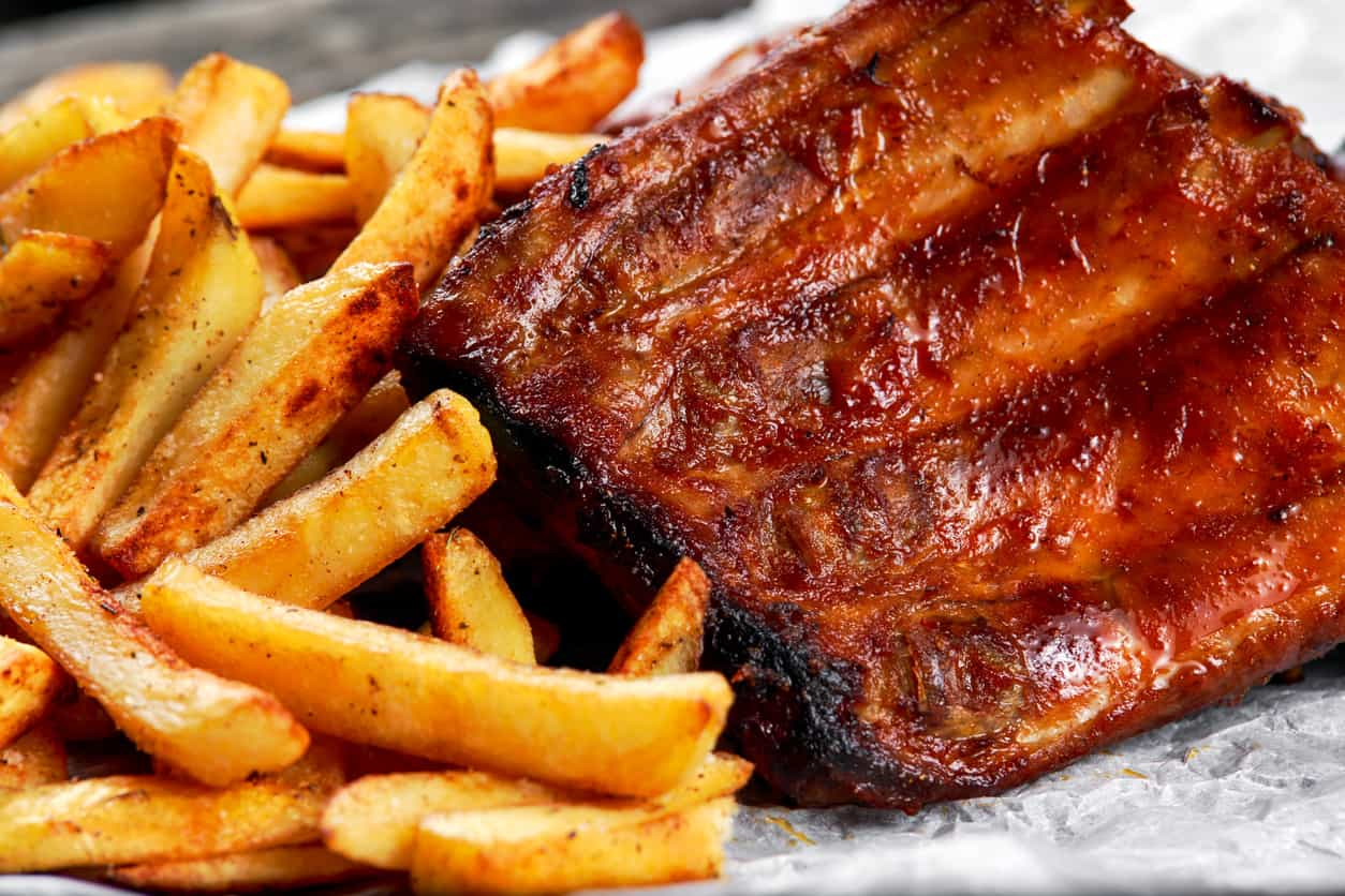 bbq food ribs and french fries